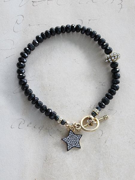 Black Spinel and Star Charm Bracelet - The Star Bracelet