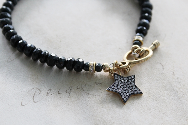 Black Spinel and Star Charm Bracelet - The Star Bracelet