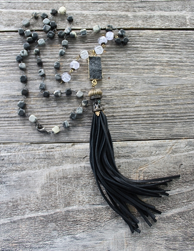 Black Jasper Druzy and Tassel Necklace - The Stacia Necklace