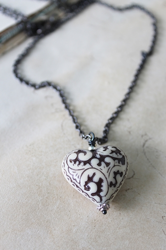 Black and White Lucite Heart Necklace - The Christy Necklace
