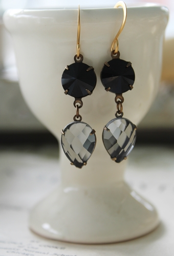 Black and Gray Vintage Drop Earrings