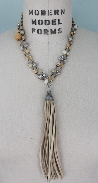 Vintage Indian Rice and Guilloche Rosary Beads and Tassel Necklace - The Vivian Necklace