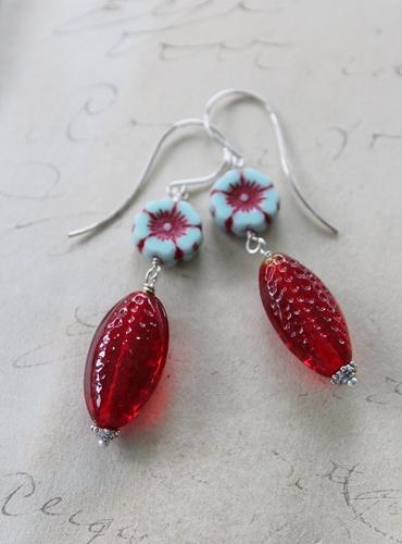 Vintage Czech Flower Glass Earrings - The Blossom Earrings