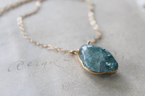 Crackle Quartz Pendant and Gold Necklace - The Chloe Necklace