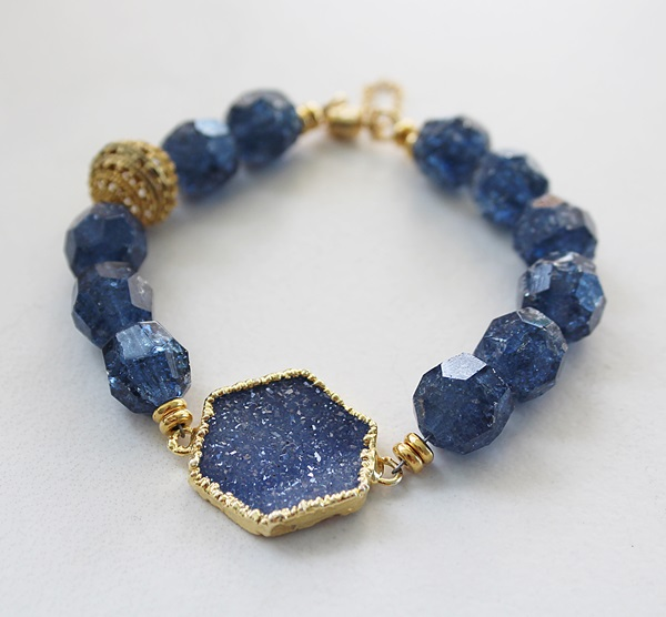 Vintage West German Glass and Druzy Bracelet - The Madeline Bracelet