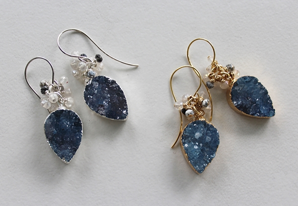Montana Blue Druzy Teardrop Earrings - The April Earrings