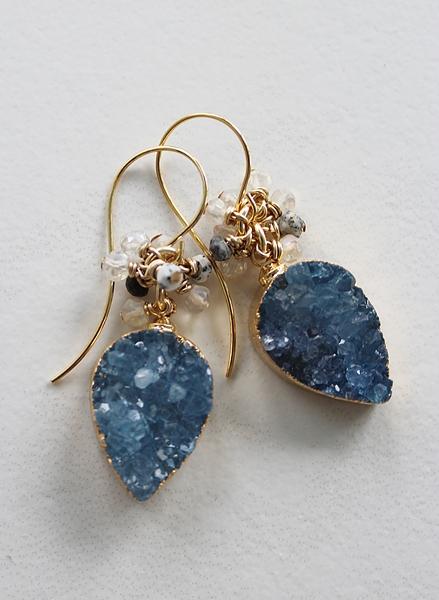 Montana Blue Druzy Teardrop Earrings - The April Earrings