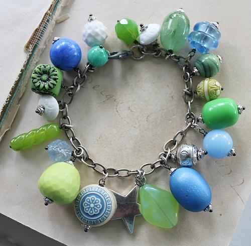 Market Day Trinket Bracelet - Blue and Green