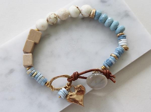 Blue Opal, Magnesite and Agate Leather Bracelet - The Skylar Bracelet