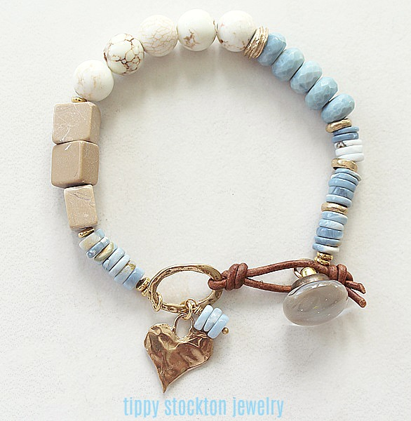 Blue Opal, Magnesite and Agate Leather Bracelet - The Skylar Bracelet