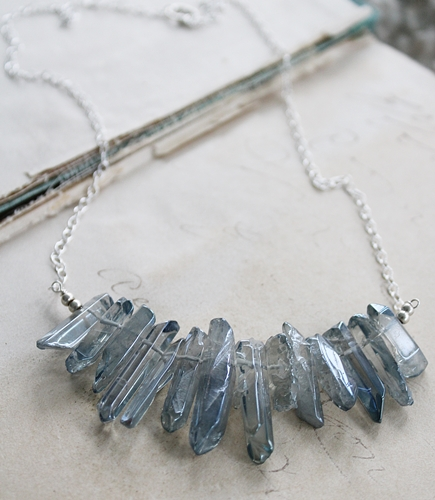 Blue Quartz Point Necklace - The Gabby Necklace