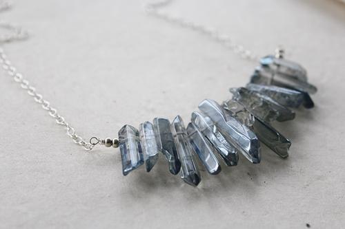 Blue Quartz Point Necklace - The Gabby Necklace