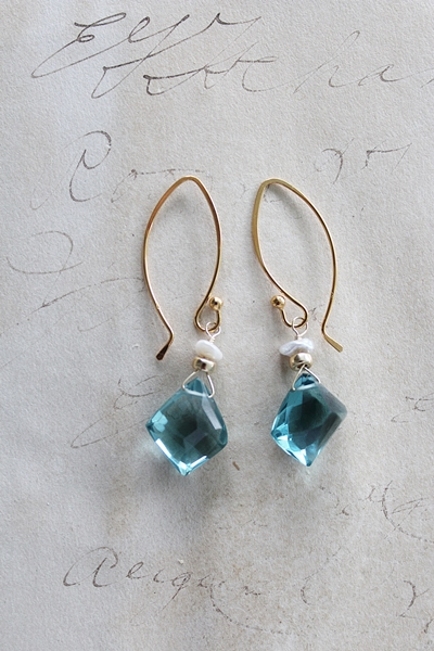 Blue Topaz and Fresh Water Pearl Earrings and Necklace Set - The Lainey Set