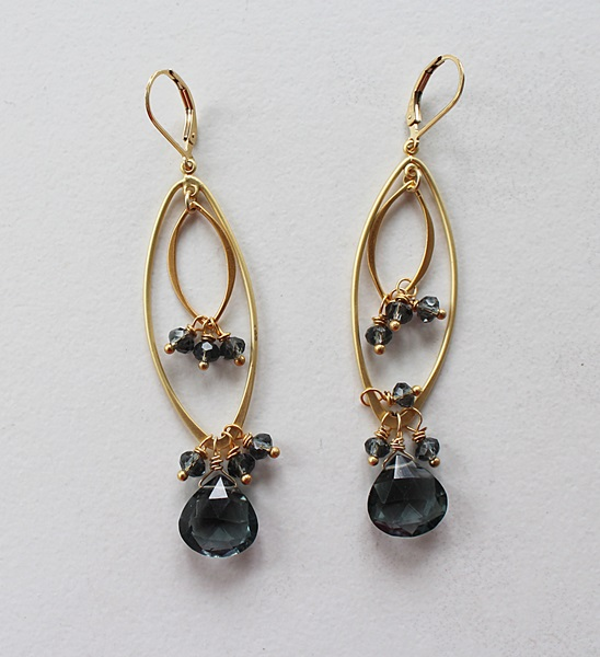 Blue Topaz and Gold Dangle Earrings - The Mimi Earrings
