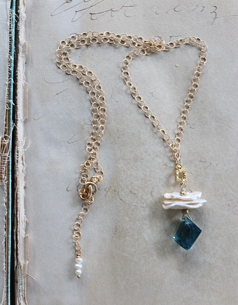 Blue Topaz and Fresh Water Pearl Necklace - The Lainey Necklace