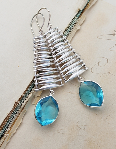 London Blue Topaz and Silver Ladder Earrings - The Shiloh Earrings