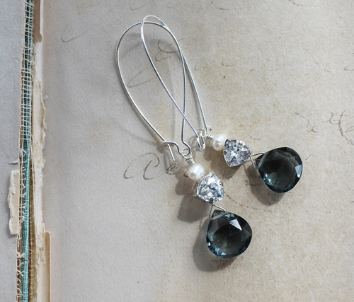 Faceted Blue Zircon Swarovski Crystal Pearl Earrings - The Jaclyn Earrings