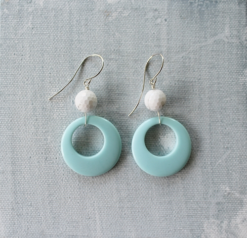 White Turquoise and Blue Lucite Hoop Earrings - The Jerilynn Earrings