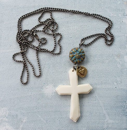 Vintage Bone Cross, Metal Heart Charm and Glass Necklace - The Lucca Necklace