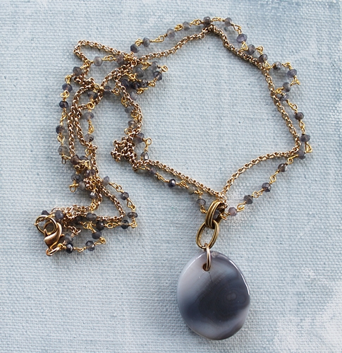 Botswana Agate Pendant and Tanzanite Necklace - The Zeny Necklace