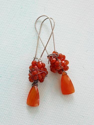 Carnelian Cluster Earrings - The Tess Earrings