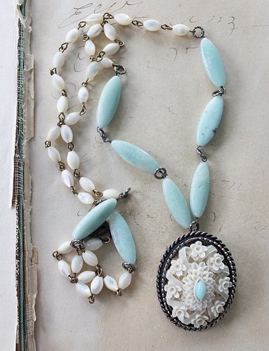 Mother of Pearl Larimar Celluloid Brooch Necklace - The Fiona Necklace