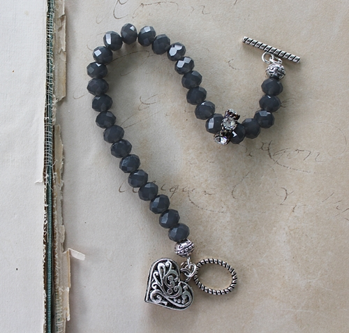 Charcoal Gray Glass and Rhinestone Bracelet - The Myra Bracelet