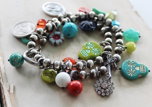 Czech Glass Religious Medal Charm Bracelet - The San Lucia Bracelet