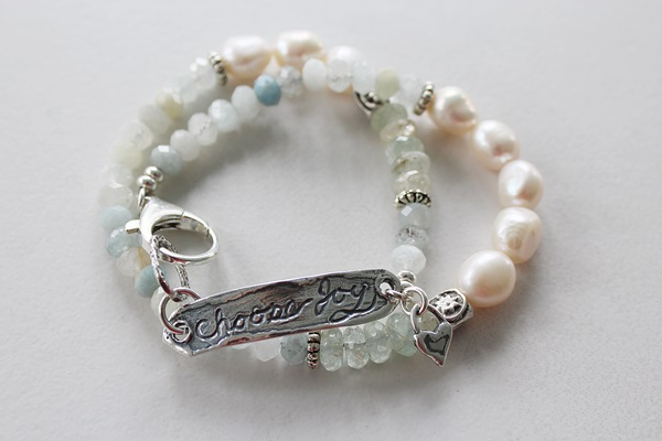 Fresh Water Pearl Aquamarine and Sterling Silver Double Wrap Bracelet - The Choose Joy Bracelet