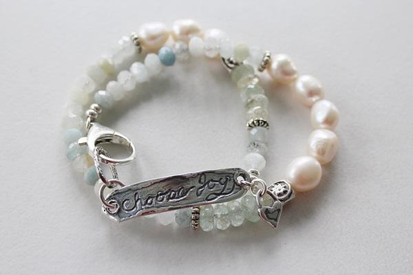 Australian Moonstone and Pink Tiger Quartz and Sterling Silver Bracelet - The Joy Bracelet