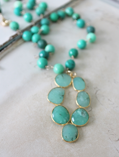 Chrysoprase Pendant on Green Opal Necklace - The Colleen Necklace