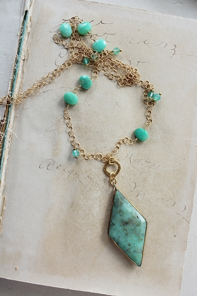 Chrysoprase Diamond Shaped Necklace - The Lucia Necklace