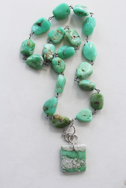 Chrysoprase Chunky Necklace and Pendant - The Meghan Necklace