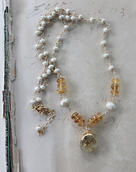 Citrine and Czech Glass Necklace - The Quinn Necklace