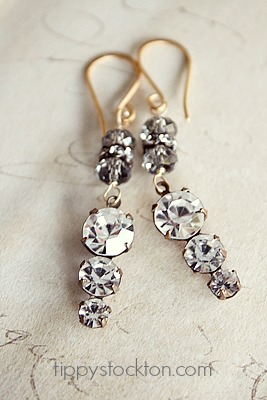 Vintage Rhinestone and Glass Earrings - The Sarah Earrings