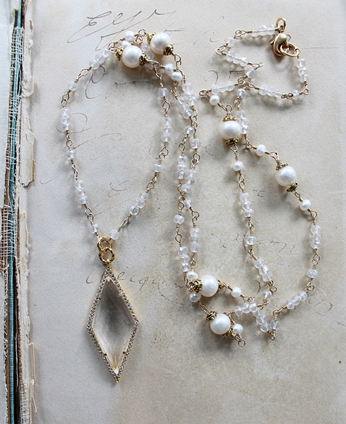 Clear Quartz and CZ Pendant with Snow Quartz and Fresh Water Pearl Necklace - The Peyton Necklace