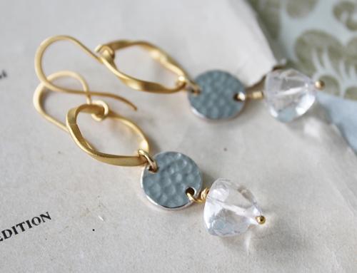 Silver Disc Hoop and Clear Quartz Earrings
