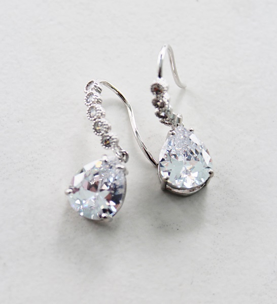 Clear CZ with Fancy CZ Hook Earrings - The Everleigh Earrings