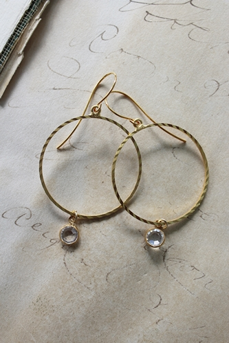 Golden Hoop Clear Quartz Earrings