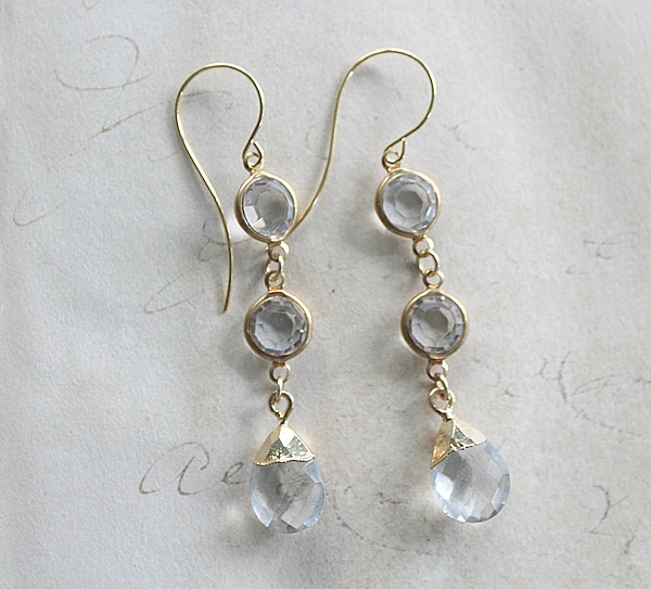 Clear Quartz Drop Earrings - The Olivia Earrings