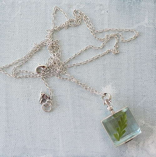 Clear Square Locket Sterling Silver Necklace - The Fern Necklace