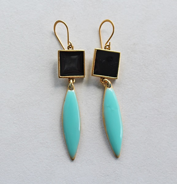 Color Block Earrings - Sea and Sky