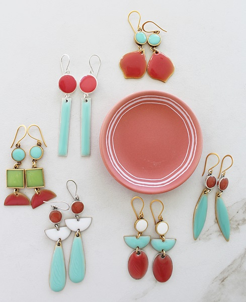 Color Block Earrings - Aqua and Coral (A)