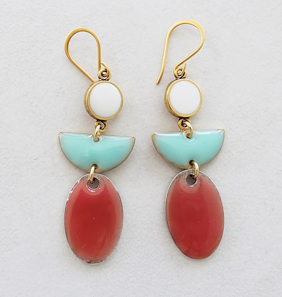 Color Block Earrings - Aqua and Coral (B)