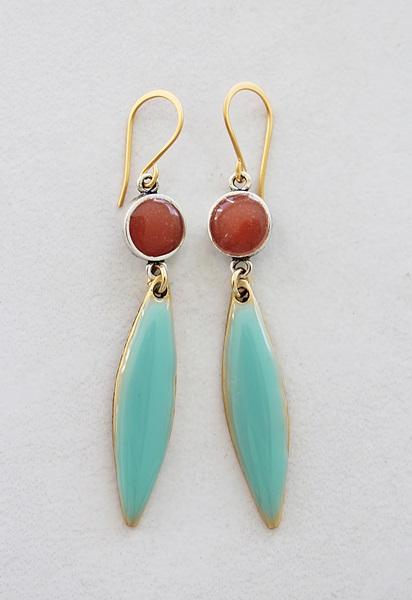 Color Block Earrings - Aqua and Coral (A)