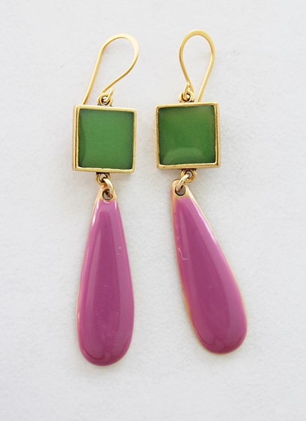 Color Block Earrings - Loden Green and Raspberry