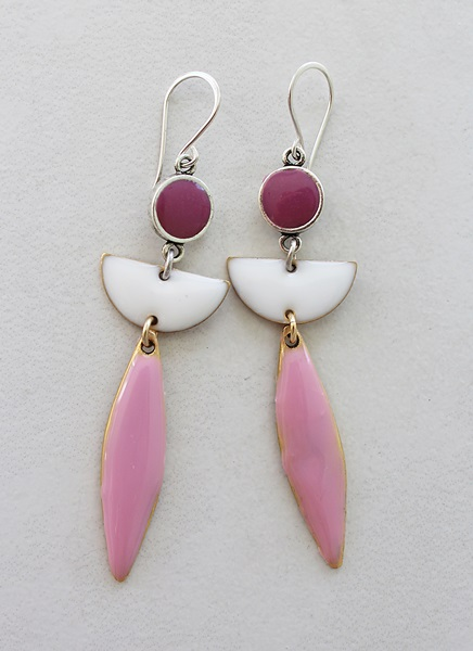 Color Block Earrings - Pale Pink and Raspberry