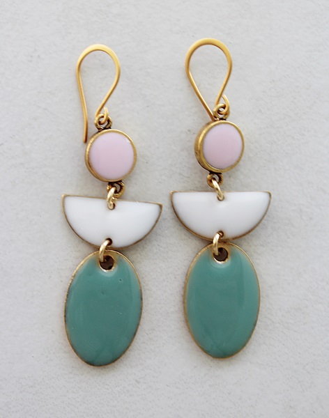 Color Block Earrings - Pink White and Aqua