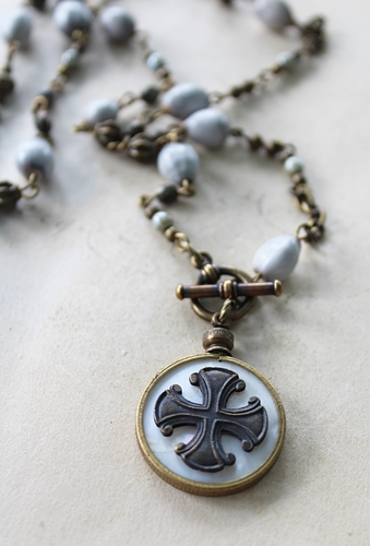Coptic Cross and Vintage Rosary Chain Necklace - The Neela Necklace