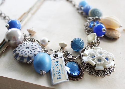 Market Day Trinket Necklace - Cornflower Blue and White, Maryland License Tag